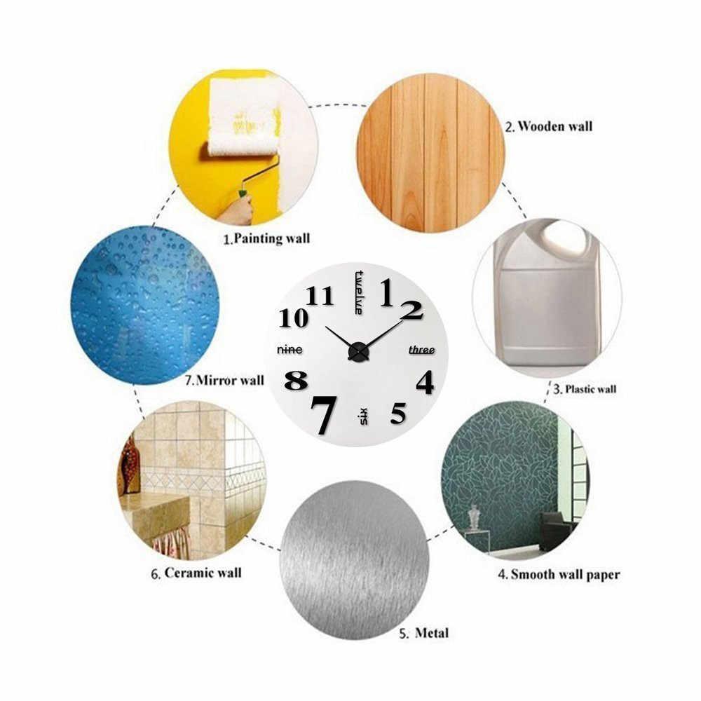 Novo diy acrílico espelho adesivos de parede relógio grande design moderno 3d adesivo europa padrão casa decora relógios pegatinas pared