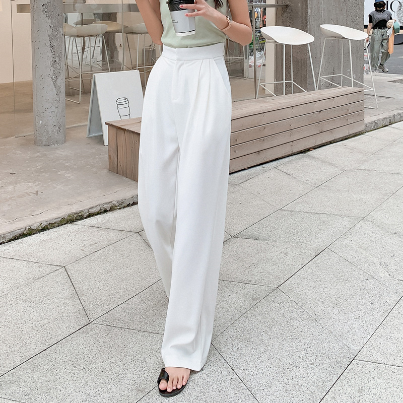 Summer Korean OL Style White Women Pants Chic Wide Leg Pant High Waist Elegant Work Trousers Female Casual Pantalon Femme