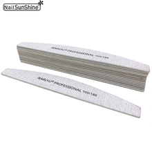 10pcs Wood Nail File 100/180 Strong Thick Professional Nail Buffer Sandpaper Buffing Sanding Banana Type lime a ongle Nail Files