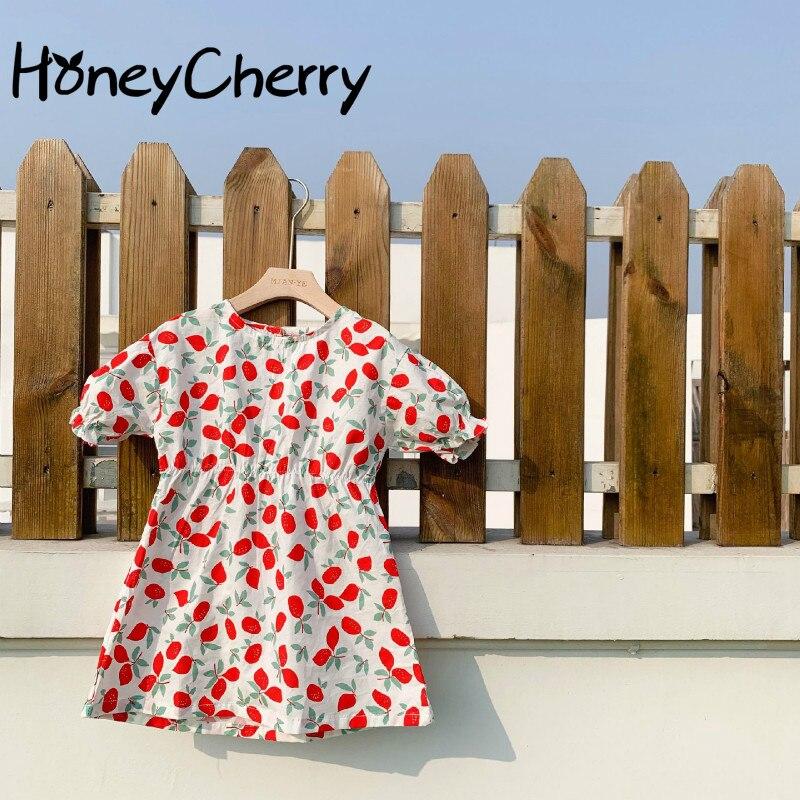 2020 Children's Summer Dress New Girl's Strawberry Decor Dress Korean Slim Round Neck Dress Baby Girl Clothes