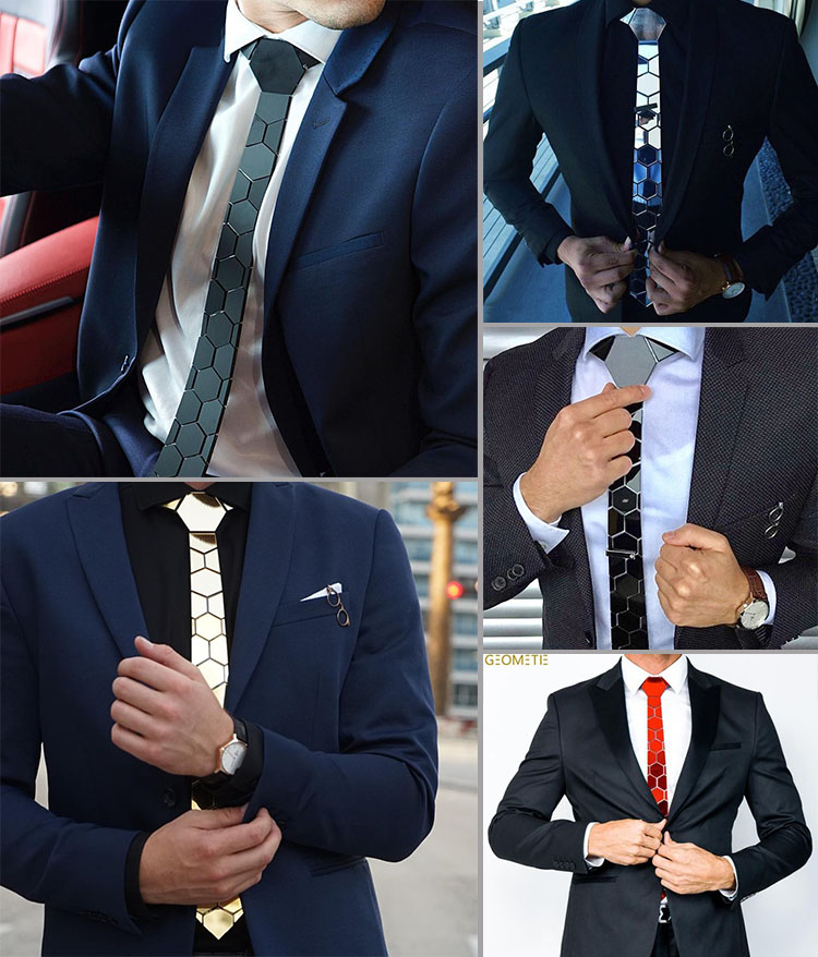Chic noir mat hexagone cravates élégant hommes cravates 5 couleurs luxe Hexties 5cm boîte-cadeau robe formelle accessoire Design Unique - 4