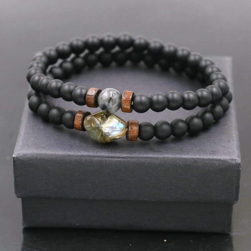 2pcs/set Tibetan Men Bracelet 6mm Lava Stone Moonstone Beads Bracelet Chakra Yoga Buddha Bead Bracelet For Men Jewelry Bileklik