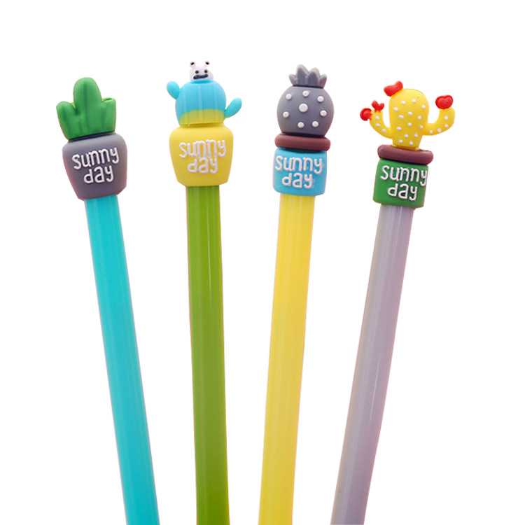 Cactus potted style gel pen Creative soft silicone meaty Student use full needle