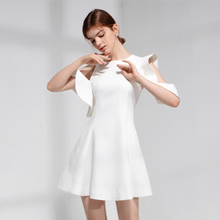 Celebrity Dress Gown Party-Wear Sleeveless White Ruffles Simple A-Line for Women Jewel