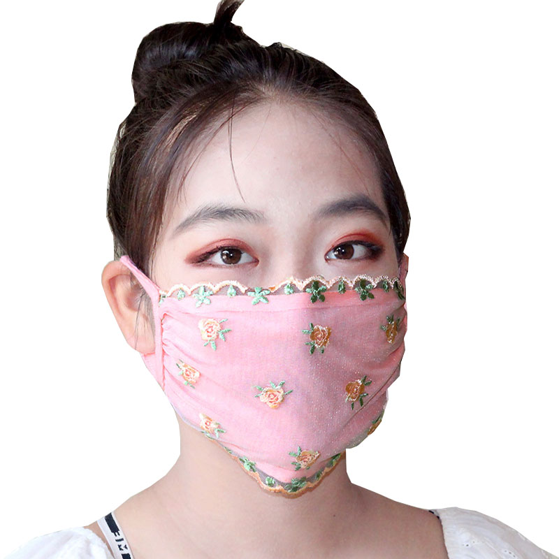 Women Floral Printed Mask Made With Lace Material For Travel Protection 3