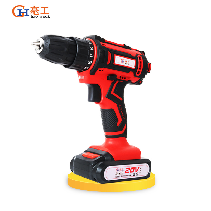 Haowook 20V Electric Drill Double Speed Lithium Cordless Drill Household Multi-function Electric Screwdriver Power Tools