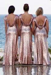 Розовое золото, с пайетками, платье подружки невесты с рукавами, платье с металлическим блеском 2019, открытая спина, Пляжное Платье для