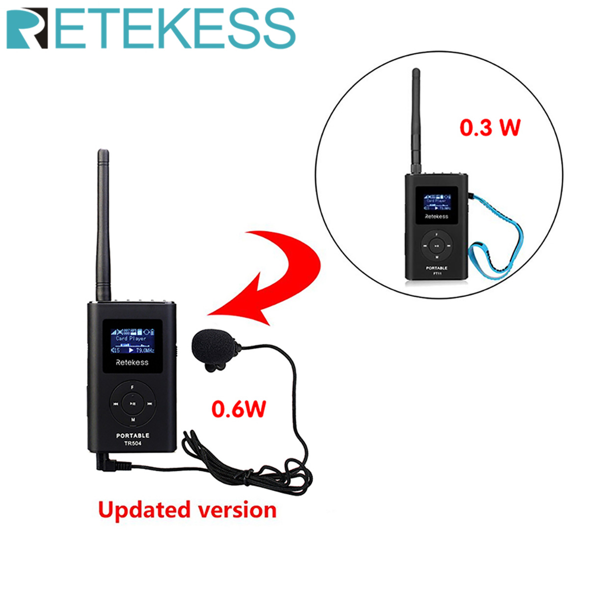 Retekess TR504 0.6W Wireless FM Broadcast Transmitter MP3 Portable for Church Car Meeting Support TF Card AUX Input