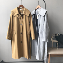 Mooirue Fall Women Khaki Windbreaker Cotton Single Breasted  Korean Cardigan Blue Trench Coat Female Overcoat