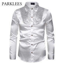 Мужская шелковая атласная гладкая рубашка, роскошный смокинг с золотыми блестками, вечерние рубашки для сцены, свадебного платья, рубашки Chemise Homme