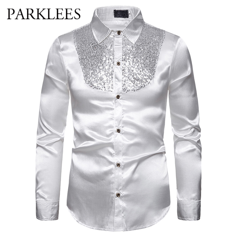 Men's Silk Satin Smooth Shirt Luxury Gold Sequin Tuxedo Shirt Party Stage Performance Wedding Dress Shirts Chemise Homme