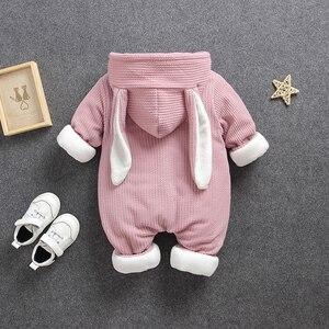 Image 3 - Soğuk kış Bebek Erkek kız rahat kapşonlu giyim seti tulum yenidoğan bebek erkek kız elbise kıyafetler kalın setleri tulum