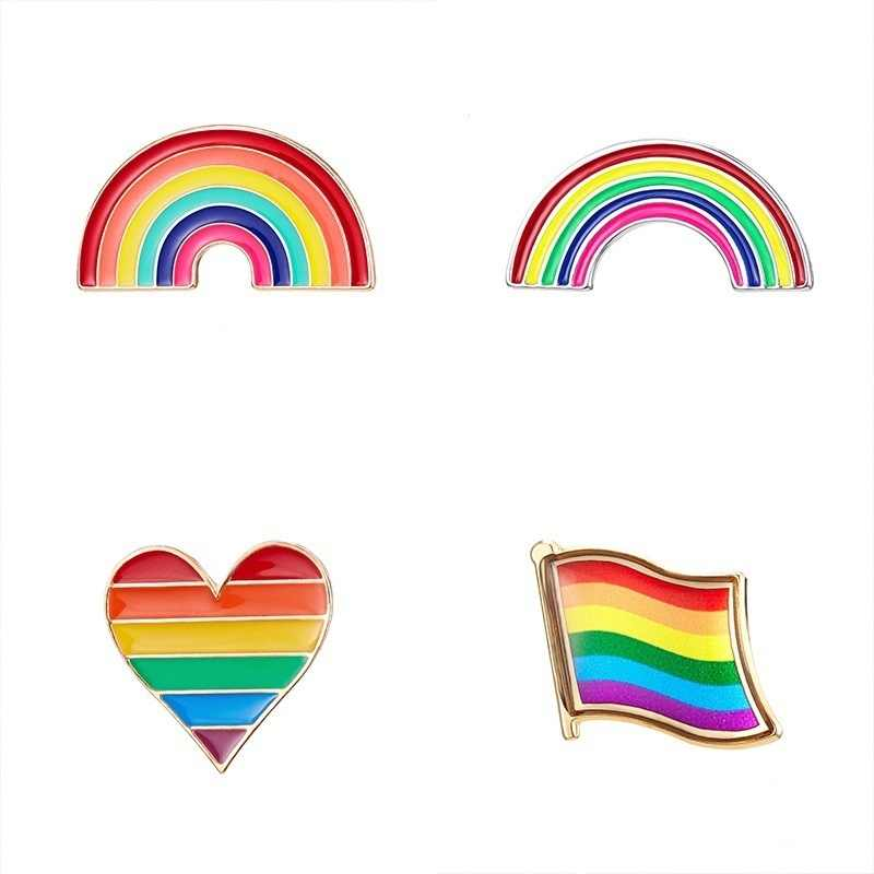 Liefde Is Liefde LGBT Rainbow Gay Pins Multicolor Sieraden Rose Bloem Hart Broches Badge Lesbische Gay Paar Pride Emaille Revers pin