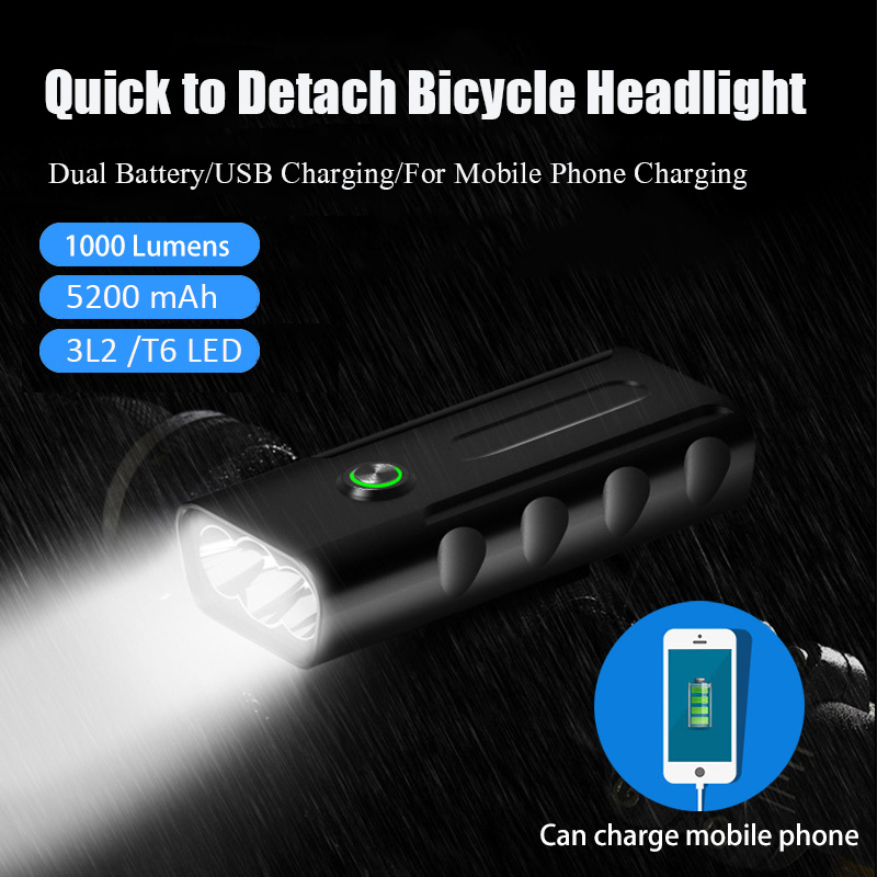 Bike Light Front L2/T6 LED Bicycle Light 5200mAh Lights USB Rechargeable Bicycle IPX5 Waterproof Powerbank Bike Accessories