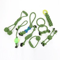 Pet Dog Interactive Green Cotton Rope Toy Durable Bite Resistant Chew Toy Set Dog Teeth Cleaning Molar Consuming Boring Time tm