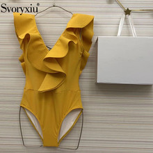 Svoryxiu Thicken Ruffles Yellow Bodysuits Women's Sexy V Collar Backless Summer
