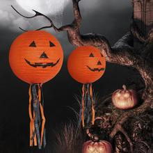 Paper 20cm Pumpkin Lantern/Electronic Lamp for Halloween Outdoor Hanging Props Party Decorations