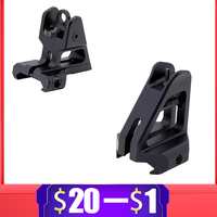 Aluminum CNC Tactical Rail Mount Fixed Front Rear Iron Sight Weaver Picatinny Rail Sight Airsoft Gel Blaster Paintball Accessory