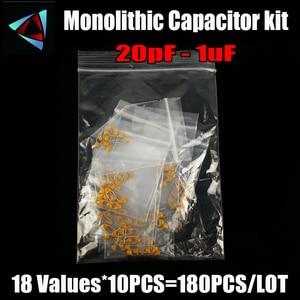 Monolithic Capacitor kit 20pF - 1uF 18values*10pcs=180pcs 105 474 334 224 104 473 333 223 103 472 102 15PF NF Assorted 5.08MM