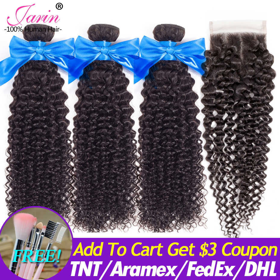 Malaysian Kinky Curly Human Hair 3 Bundles With Closure Size 4x4 130% Density Remy Hair Weave With Lace Closure JARIN Hair