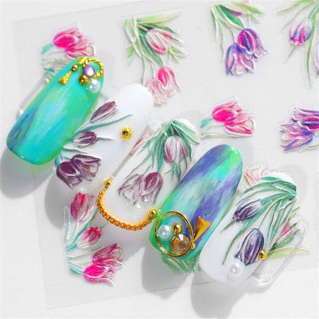 5D acrylique gravé fleur Nail Art autocollant auto adhésif en relief contour fleur feuille été décalcomanies eau manucure Accessoires