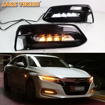 JAZZ TIGER 2PCS Turn Yellow Signal Function 12V Car DRL LED Daytime Running Light Fog Lamp For Honda Accord 2018 2019