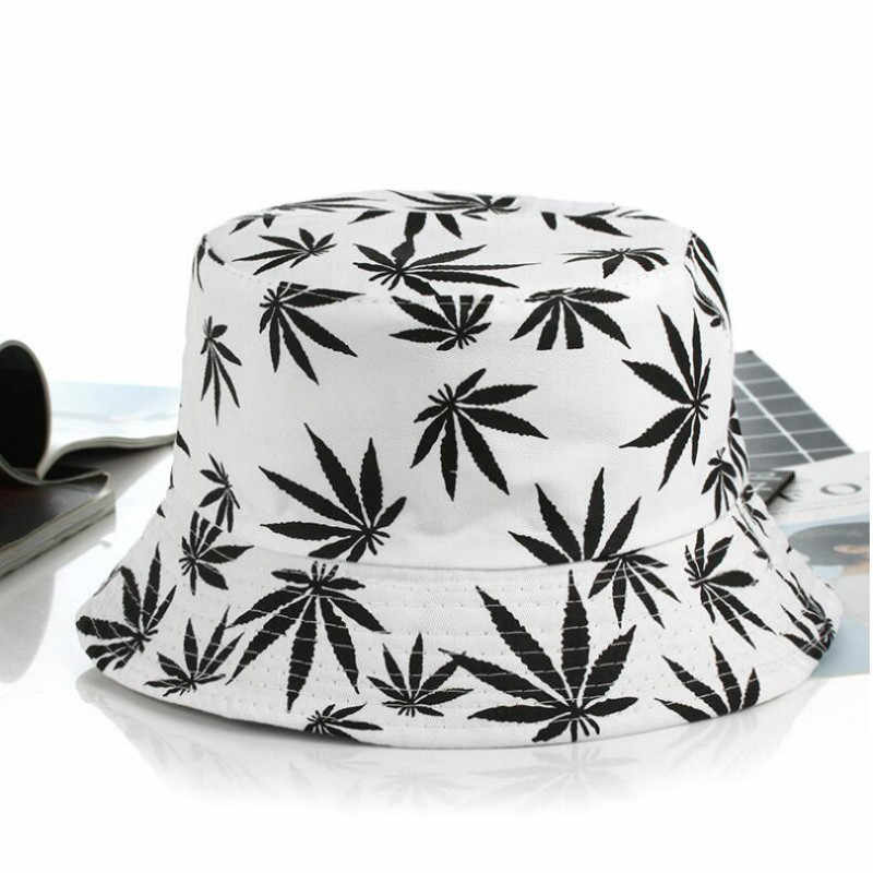 Baskılı yaprak kova şapka kadınlar ve erkekler için Hip Hop rahat pamuk şapka yaz balıkçılık şapkası kadın Panama plaj Bob şapka