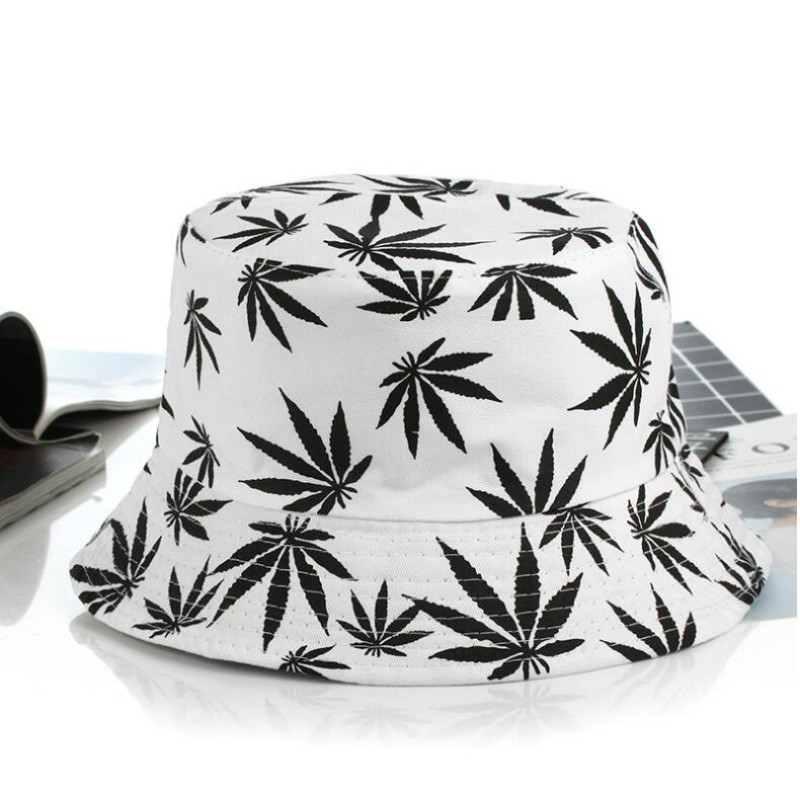 Printed Leaf Bucket Hat For Women And Men Hip Hop Casual Cotton Hat Summer Fishing Cap Female Panama Beach Bob Hats
