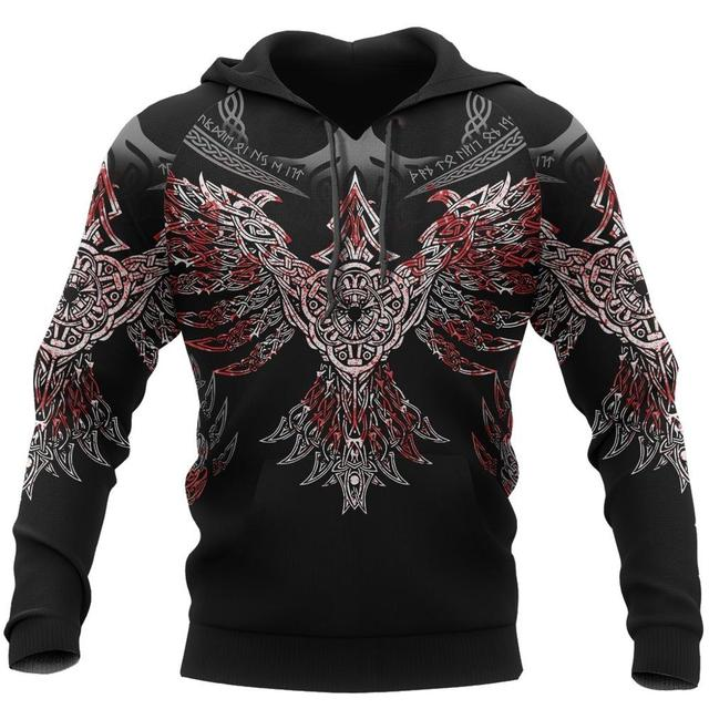 Купить viking pullover hoodie raven of odin 3d printed men women zip картинки цена