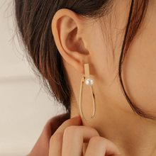 Vintage Gold Color Geomentirc Hollow Oval Long Earrings Simple Freshwater Pearl Hanging Earrings Jewelry 2021 Trend EH053