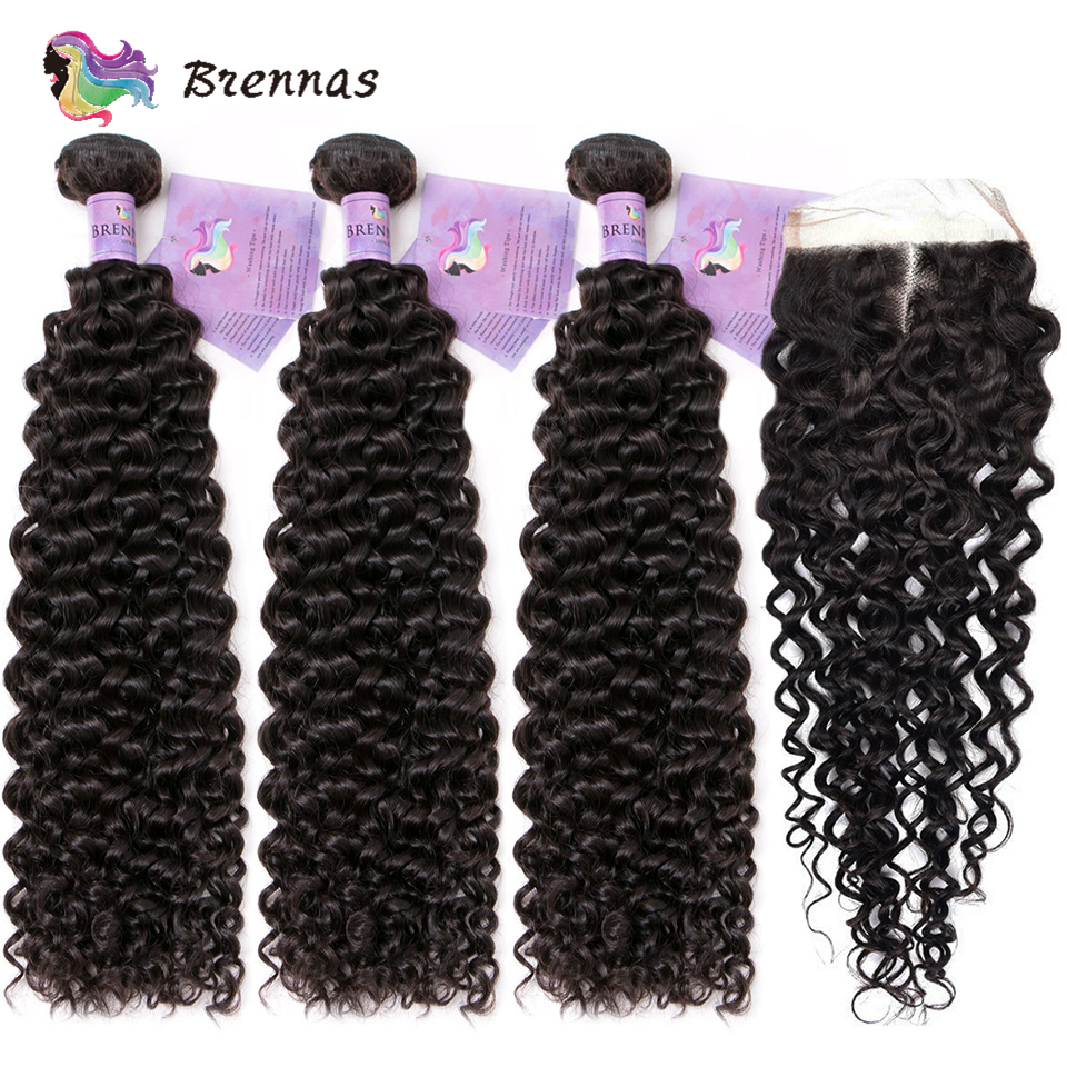 Brennas Malaysian Jerry Curly hair with closure Human Hair Weave Remy hair extension bundles with closure natural color 8 26''-in 3/4 Bundles with Closure from Hair Extensions & Wigs