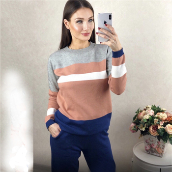 Autumn and winter fashion casual women's knit sweater pants suit knit sportswear color strip stitching wool knit suit 2