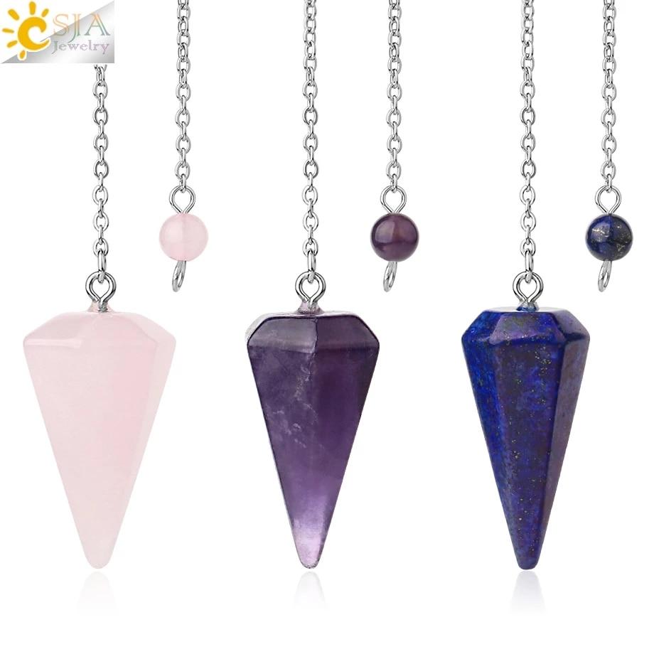 CSJA Big Size Men Women Natural Healing Gem Stone Jewelry Reiki Pyramid Hexagonal Pendulum Chain Pendant Amulet Classic E112 1