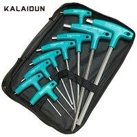KALAIDUN-Conjunto de Llaves hexagonales Allen, llave en T de cabeza plana, destornillador hexagonal, herramientas de mano, Reapair para motocicleta, 6/9 Uds.