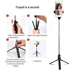 Image 4 - Palo de Selfie inalámbrico con Bluetooth, trípode extensible de mano, Mini trípode plegable con obturador remoto para iPhone y Android