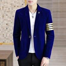 Mens Blazer Jacket Coat Suit-Top Velvet Slim for Singers Stage-Costumes Stitching Gold