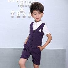 2019 Fashion Striped 3Pcs Vest+Pant+Shirts Summer Formal Vest Top Gentle Boys Suits Wedding Cotton/Linen Kids Short Set