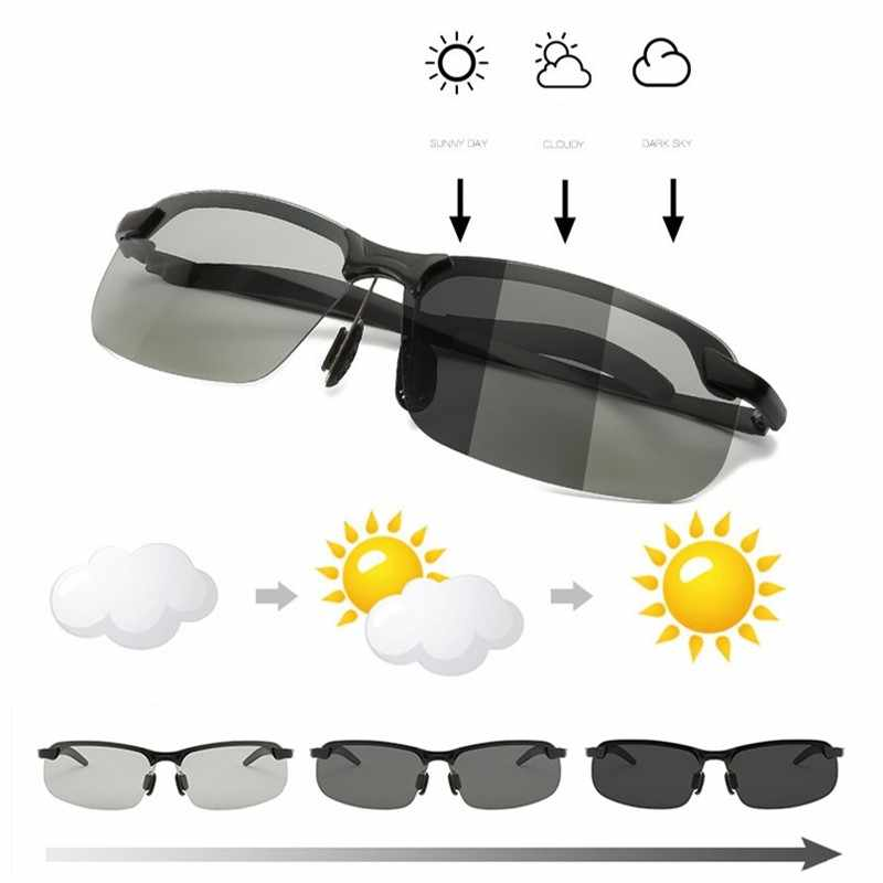 Men/'s Photochromic Polarized Sunglasses Day and Night Driving Sports Glasses