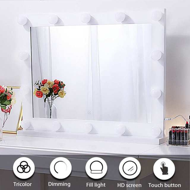 Hollywood Makeup Mirror Vanity Lighted Cosmetic Mirror with 14 LEDs Lights For Tabletop Bathroom Beauty Mirror Dressing Room 2