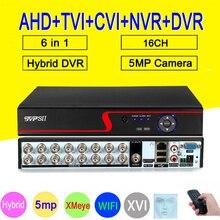 אדום פנל 5MP Xmeye Auido H.265 + Hi3531D 16 ערוץ 16CH 6 ב 1 Wifi היברידי השישה עשר NVR CVI TVi AHD טלוויזיה במעגל סגור DVR אבטחת וידאו מקליט