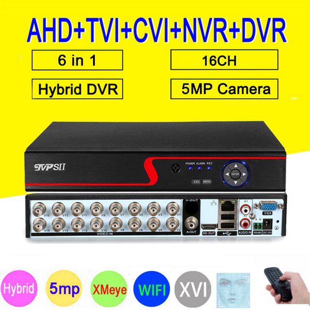 Red Panel 5MP Xmeye Auido H.265+ Hi3531D 16 Channel 16CH 6 in 1 Wifi Hybrid XVI NVR CVI TVi AHD CCTV DVR Security Video Recorder