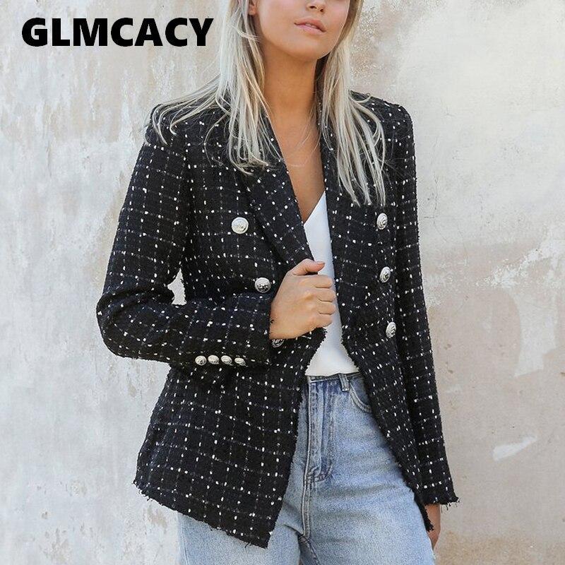 Women Vintage Polka Dot Tweed Blazers Sport Coat Office Ladies Work Outerwear Casual Casaco Femme Casual Streetwear