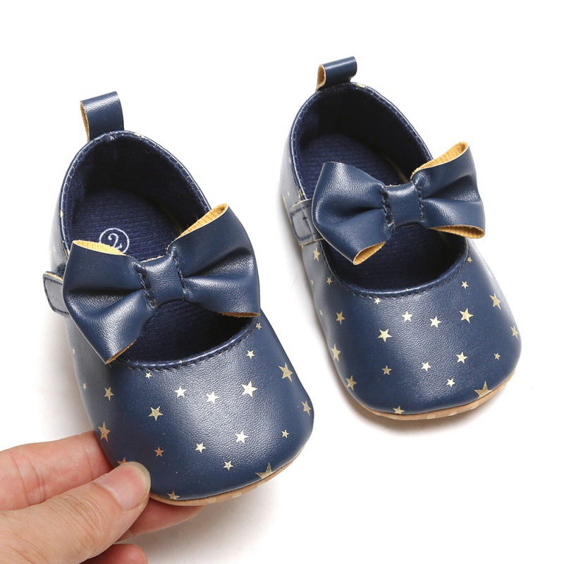 Hot Newborn Baby Girls Shoes Star PU Leather First Walkers Bow Blue Black Pink White Soft Soled Non-slip Crib Shoes