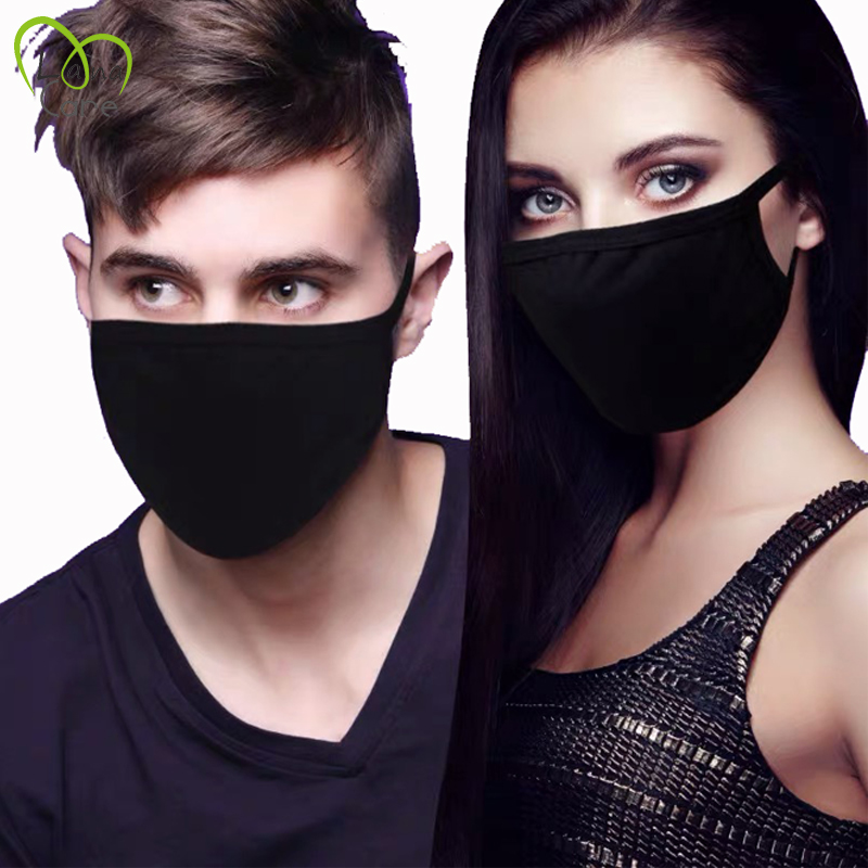 1PCS Unisex Black Cotton Mask Simple Masque Cycling Anti-dust Breathable Washable Mouth Face Mask Warm Masks Daily Protective
