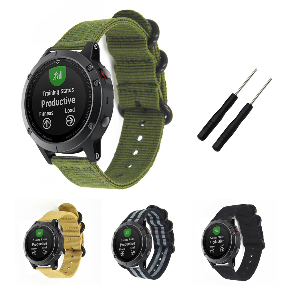 22mm Watch Band For Garmin Fenix 5 Plus / Forerunner 945 935 Sport Nato Nylon Strap 3 Ring With Tools For Garmin Approach S60