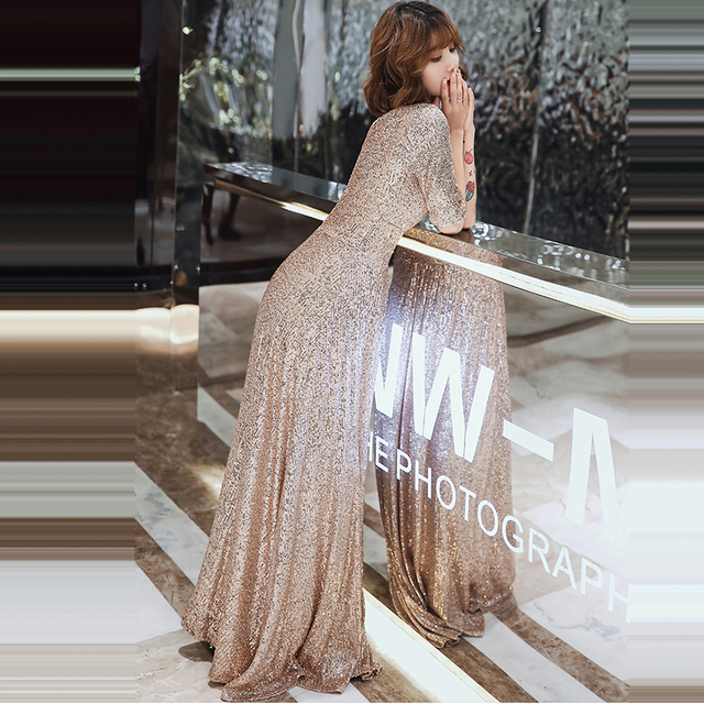 Sparkle Sequined Evening Dresses It's Yiiya K004 Double V-neck Evening Dress Elegant Robe De Soiree 2020 Plus Size Evening Gown 2