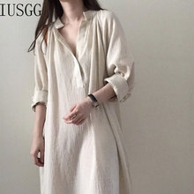 Trendy Autumn Vintage Long Shirt Dress Women Retro Linen Loose V-neck Cotton Midi Beach Casual