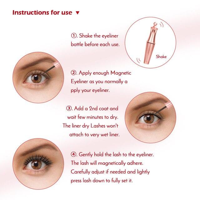 New 3 Pairs/set 3D Magnetic Fake Eyelashes Extension Natural Reusable Magnet False Eyelashes kits with Magnetic Eyeliner tweezer 3