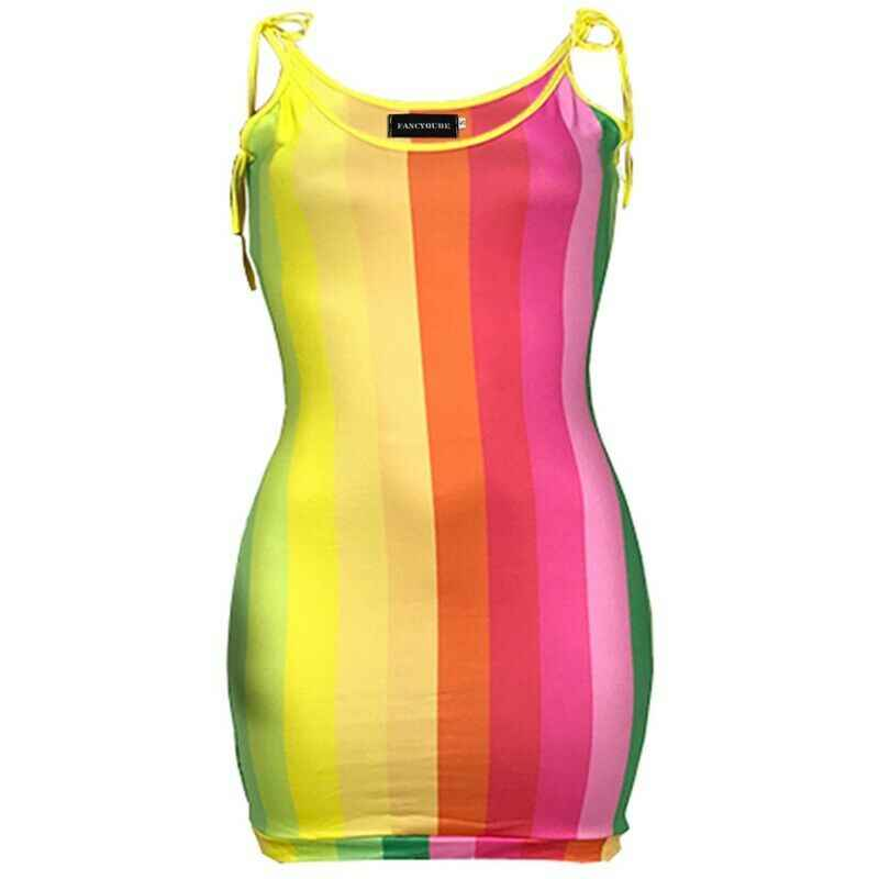 여성 섹시 스파게티 스트랩 꽉 여름 드레스 어깨 무지개 스트라이프 인쇄 미니 클럽 파티 드레스
