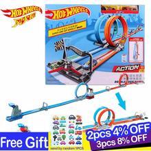 Hot Wheels Carros Track Model Double Loop Dash Car Race Kids Toy Metal Car Hotwheels Action Hot Toys for Children Juguetes GFH85